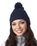 8136 UltraClub Adult Knit Pom-Pom Beanie with Cuff