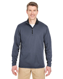 8237 UltraClub Adult Two-Tone Keyhole Mesh Quarter-Zip Pullover