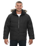 88179 Ash City - North End Men's Boreal Down Jacket with Faux Fur Trim