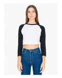 ABB354W American Apparel Ladies' Poly-Cotton 3/4-Sleeve Cropped T-Shirt