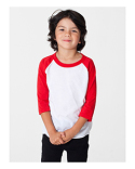BB153W American Apparel Toddler Poly-Cotton 3/4-Sleeve T-Shirt