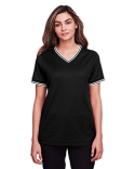 DG20CW Devon & Jones Ladies' CrownLux Performance™ Plaited Tipped V-Neck Polo