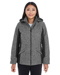 DG710W Devon & Jones Ladies' Midtown Insulated Fabric-Block Jacket with Crosshatch Mélange