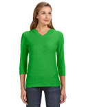 JA8153 J America Ladies' 3/4-Sleeve Hooded Slub T-Shirt