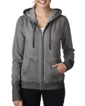 JA8665 J America Ladies' Oasis Wash Full-Zip Hood