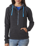 JA8876 J America Ladies' Triblend Half-Zip Fleece Hood