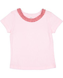 RS3329 Rabbit Skins Toddler Girl's Ruffle Neck Fine Jersey T-Shirt