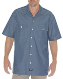 WS509 Dickies Unisex Relaxed Fit Short-Sleeve Chambray Shirt