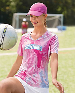 TT12W Team 365 Ladies' Short-Sleeve V-Neck Tournament Sublimated Pink Swirl Jersey